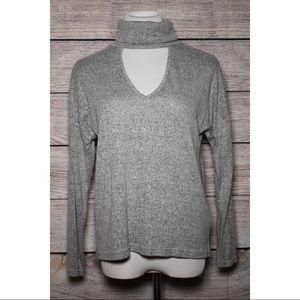 Heathered Grey Turtleneck Sweatshirt
